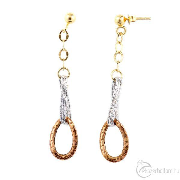 Háromszínű 14 karátos arany lógós fülbevaló, 1,73 g