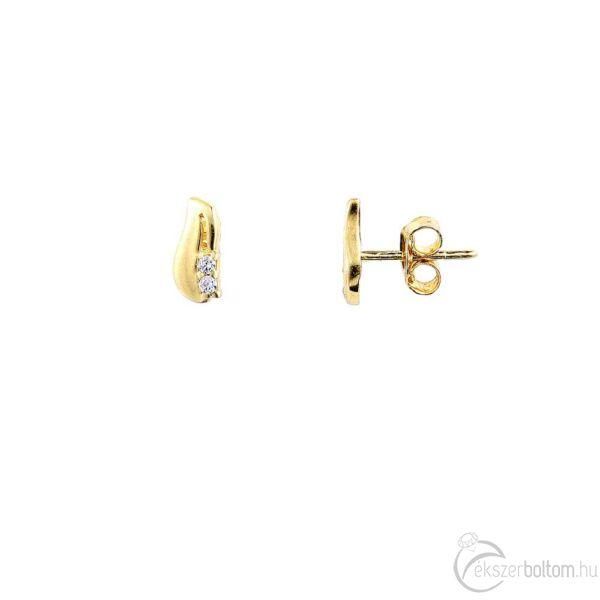 Sárga 14 karátos arany, két pici köves fülbevaló