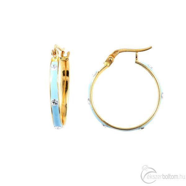 Világoskék zománcos sárga 14 karátos arany karika fülbevaló