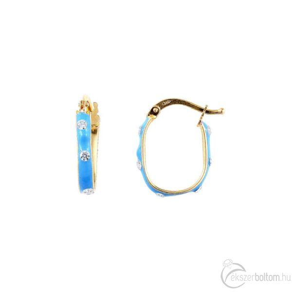 Kék zománcos sárga 14 karátos arany ovális karika fülbevaló