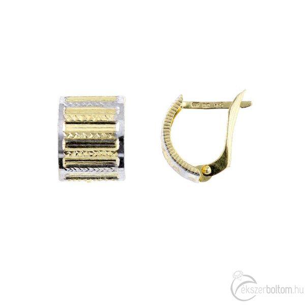 Széles, ívelt sárga 14 karátos arany fülbevaló ródium díszítéssel