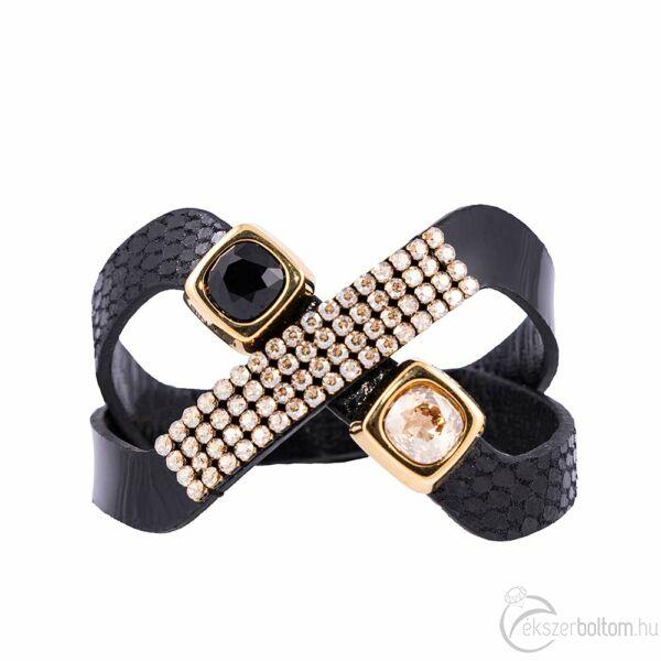 Cango & Rinaldi Magic fekete karkötő arany színű és JetBlack kristály díszítéssel