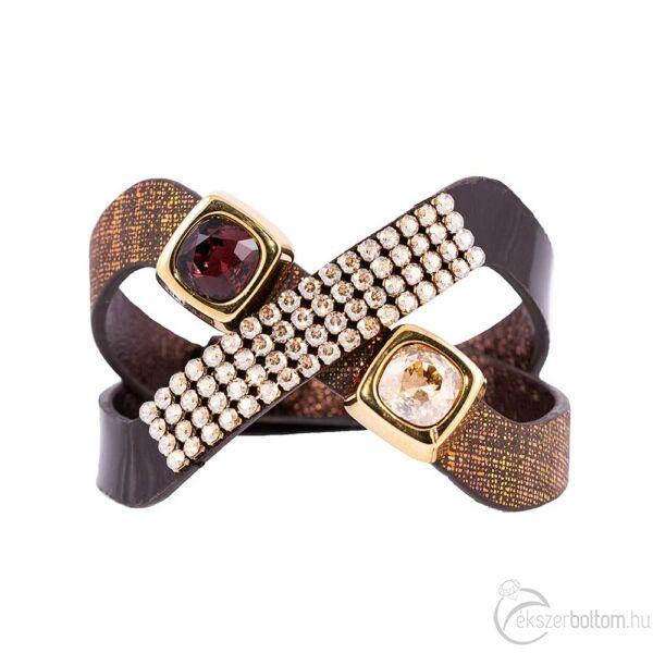 Cango & Rinaldi Magic aranyos és barna színű karkötő arany színű és Burgundy kristály díszítéssel