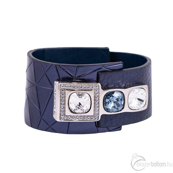 Cango & Rinaldi Magic sötétkék karkötő nikkel fém, Bermuda-kék  és fehér kristály díszítéssel