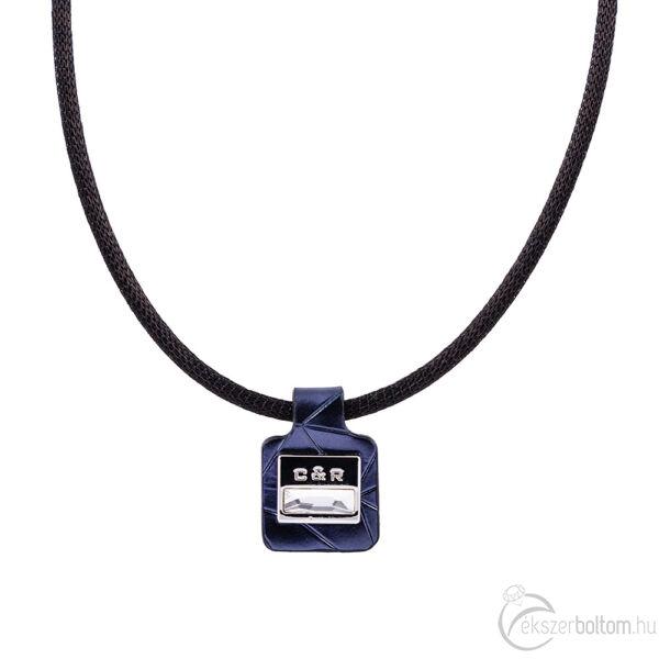 Cango & Rinaldi Magic fekete nyaklánc sötétkék medállal, nikkel színű díszítéssel, fehér kristállyal