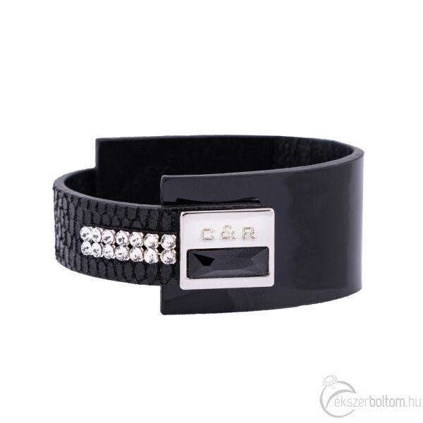 Cango & Rinaldi Magic fekete karkötő nikkel színű díszítéssel, JetBlack és fehér kristályokkal