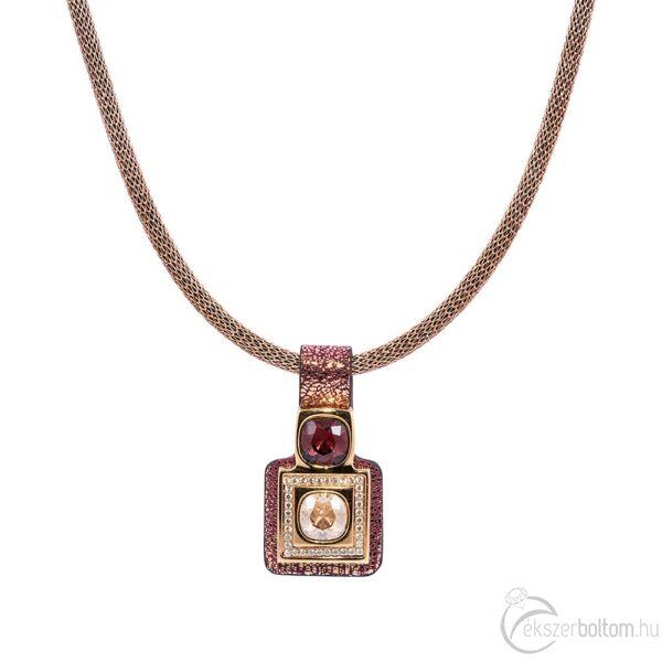 Cango & Rinaldi Magic arany színű nyaklánc bordó medállal, arany színű fém díszítéssel, Burgundy és arany kristályokkal
