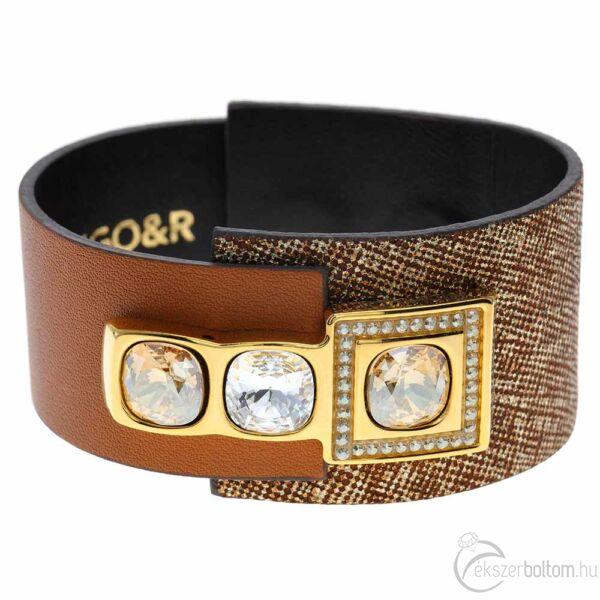 Cango & Rinaldi Magic Cube barna karkötő nikkel fém, arany  és fehér kristály díszítéssel