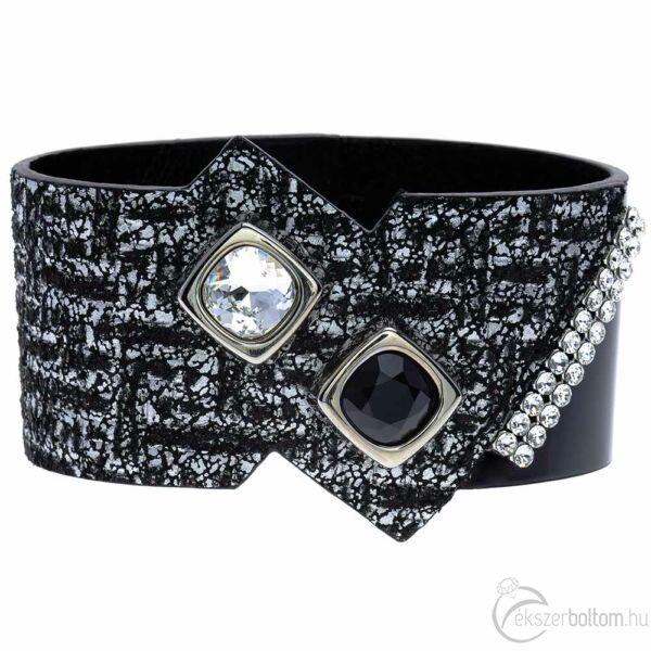 Cango & Rinaldi Magic Cube ezüstszín fémdíszes, fehér és JetBlack kristály köves, fekete-ezüst színű karkötő
