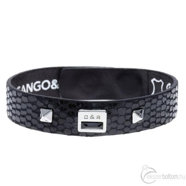 Cango & Rinaldi Magic fekete karkötő nikkel színű díszítéssel, JetBlack kristállyal