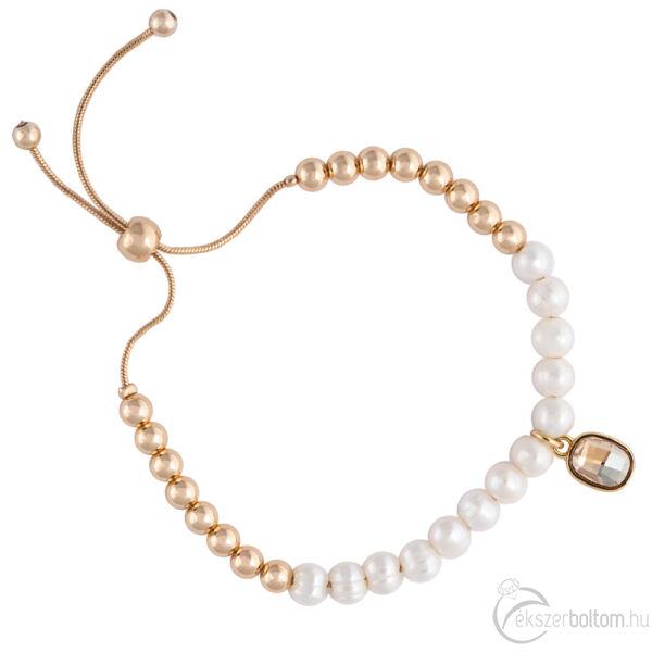 Cango & Rinaldi Peace & Love arany színű, kristály köves gyöngyös, csúszkás karkötő