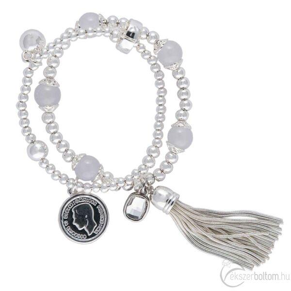 Cango & Rinaldi Peace & Love ezüst színű, kristály köves bojtos, érmés karkötő