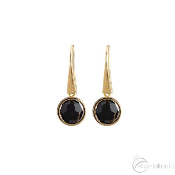 Cango & Rinaldi Planet arany színű fém fülbevaló fekete kristállyal