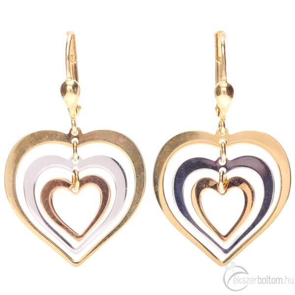 Három színű arany tripla szív fülbevaló patentzárral