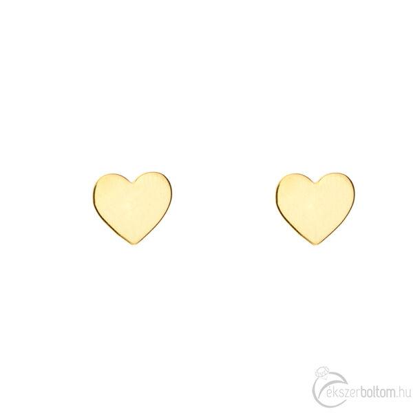 Sárga arany, lapos szív bedugós (stekkeres) pontfülbevaló