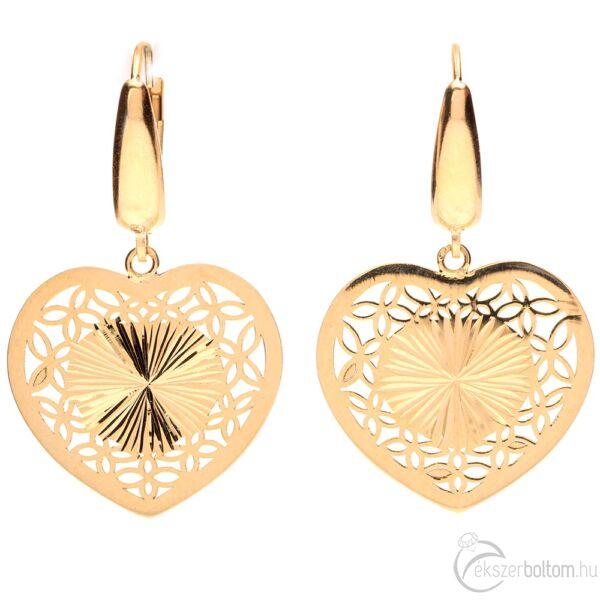 Sárga arany patentzáras szív fülbevaló áttört levélmintával és sugaras véséssel