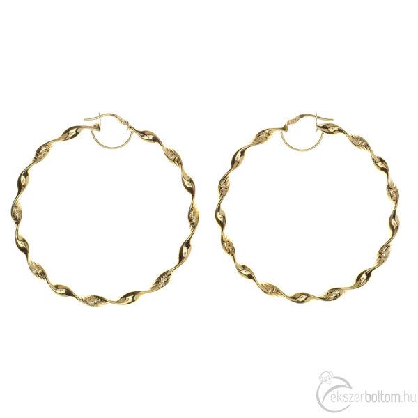 14 karátos sárga arany csavart karika fülbevaló görög mintás véséssel, 5,5 cm átmérőjű, 5,13 g