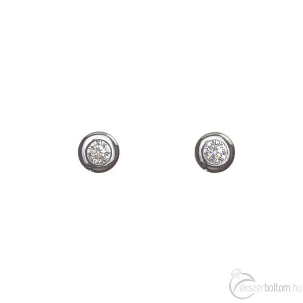 Fehér arany beszúrós buttonos fülbevaló szemből