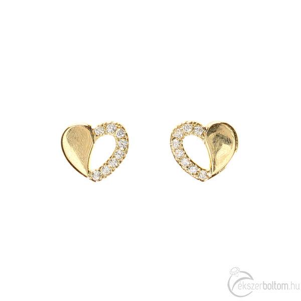 Felén sokköves, sárga arany szív fülbevaló eleje