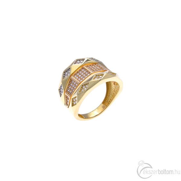"""""""Alhambra"""" sárga-rozé prizmás gyűrű (57-es méret)"""