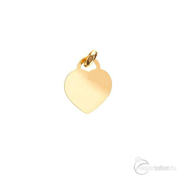 Véshető sárga arany lap szív medál, picike