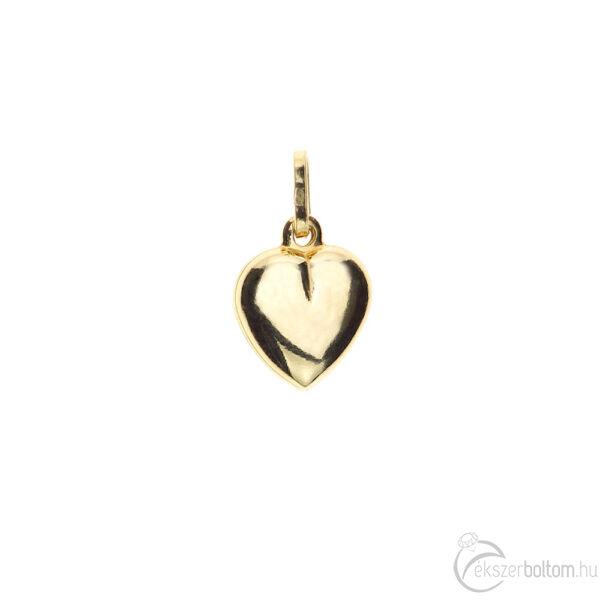 Sima domború sárga arany szív medál 1,12 g