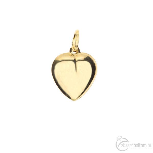 Sima domború sárga arany szív medál 1,69 g