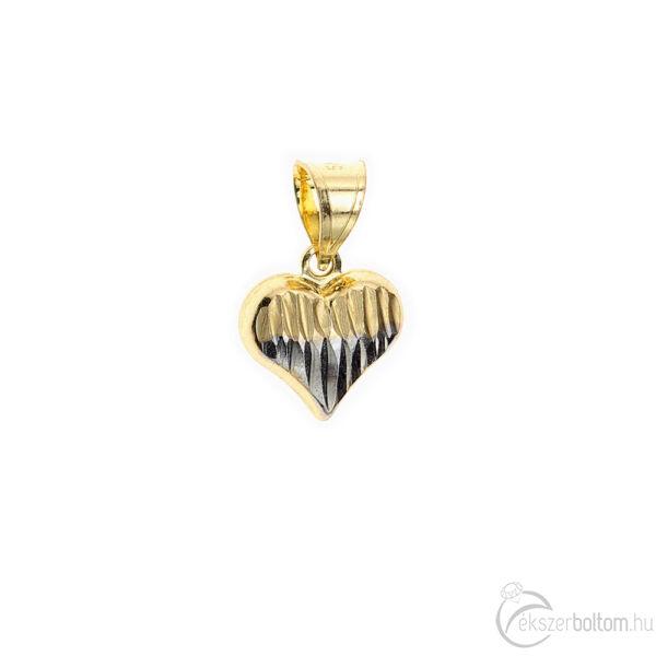 Sárga-fehér arany üreges, domború szív medál vésett mintával 0,76 g