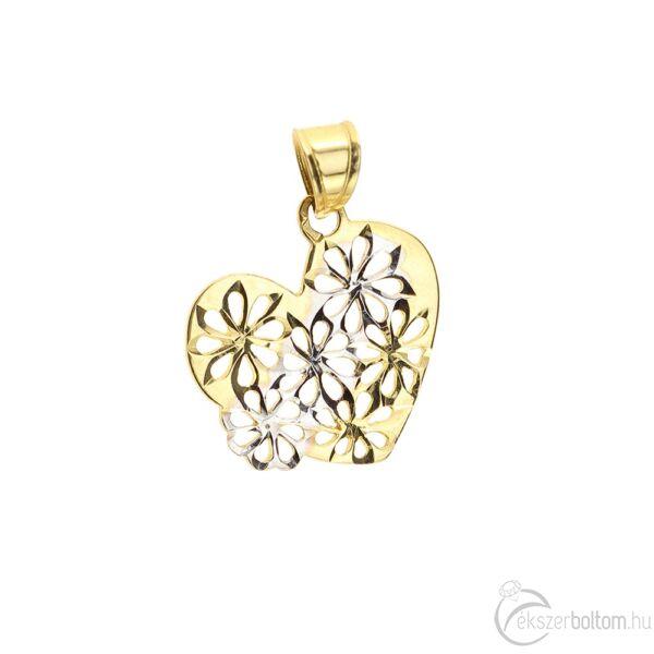 Sárga-fehér aranyból készült áttört virágmintás szív medál