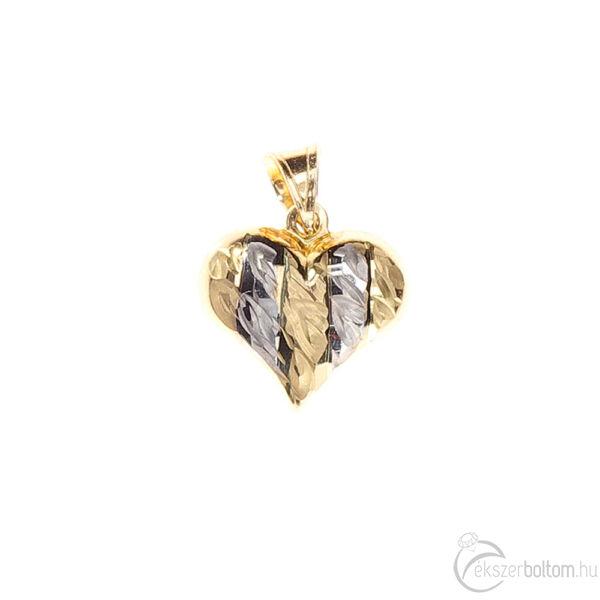 Sárga-fehér aranyból készült üreges szív medál vésett mintával