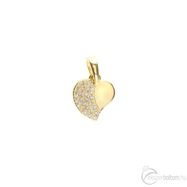Fele részén sokköves sárga arany szív medál