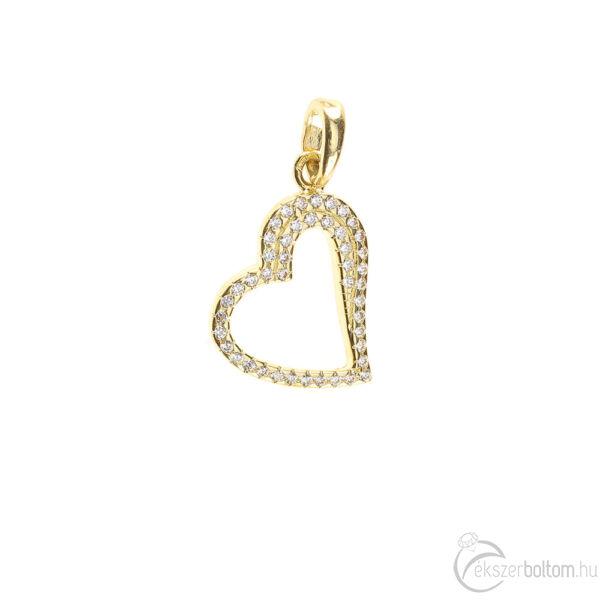 """""""Heart of Beauty """"sárga arany sokköves szív medál 1,31 g"""