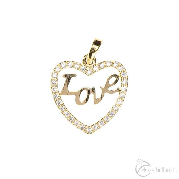 Sokköves sárga arany LOVE szív medál, 1,5 g