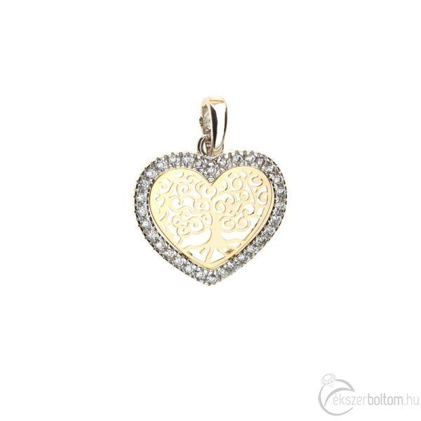 Életfa-szív sárga-fehér arany sokköves áttört szív medál