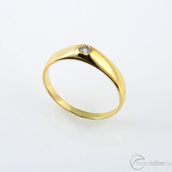 Sárga arany gyémánt gyűrű briliáns csiszolású kővel, 63-as méret