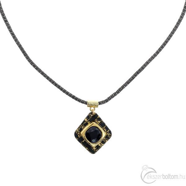 Cango & Rinaldi Cube fekete-arany bőrös, aranyszín fémdíszes és fekete láncos, JetBlack kristály köves nyaklánc