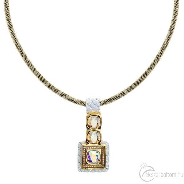 Cango & Rinaldi Cube irizáló bőrös, aranyszín fémdíszes és láncos, arany és AB szín kristályos nyaklánc