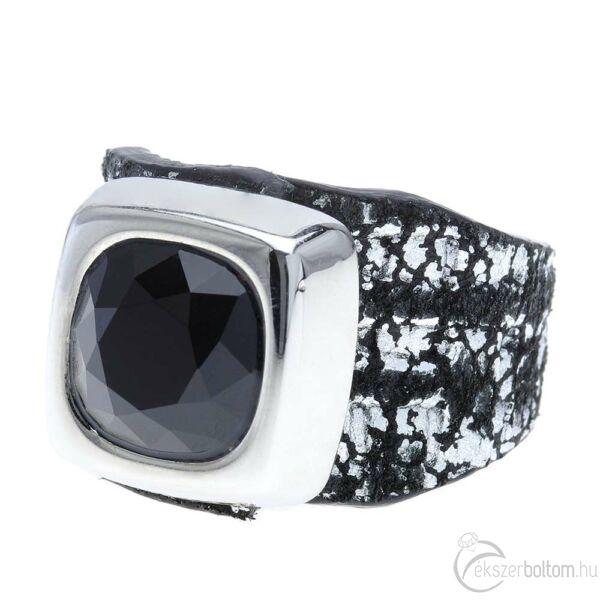 Cango & Rinaldi Cube fekete-ezüst színű gyűrű JetBlack kővel