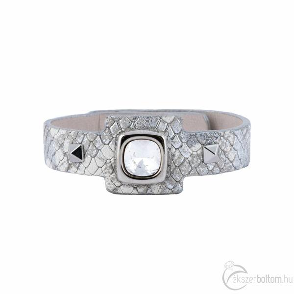 Cango & Rinaldi Cube ezüstszín fémdíszes, kristály köves, ezüst színű karkötő