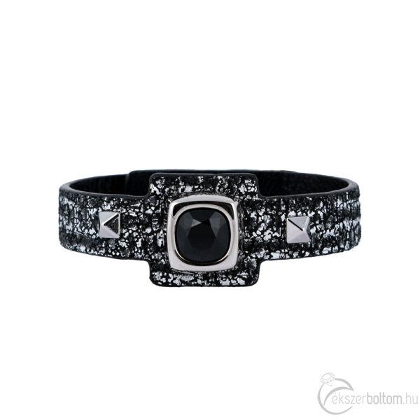 Cango & Rinaldi Cube ezüstszín fémdíszes, fekete kristály köves, fekete színű karkötő