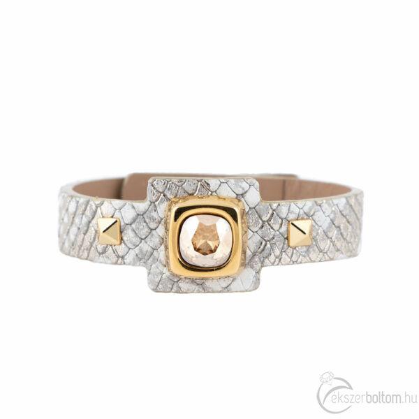 Cango & Rinaldi Cube aranyszín fémdíszes, arany kristály köves, arany színű karkötő