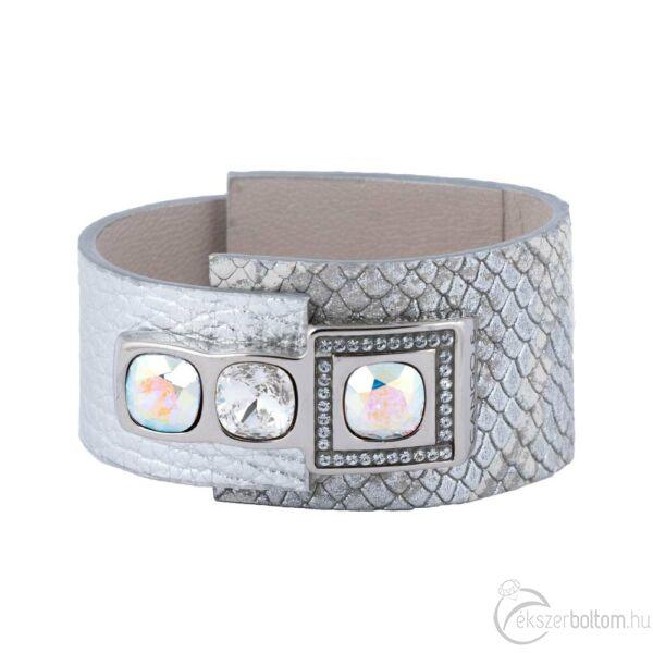 Cango & Rinaldi Cube ezüstszín fémdíszes, AB és kristály köves, ezüst színű karkötő