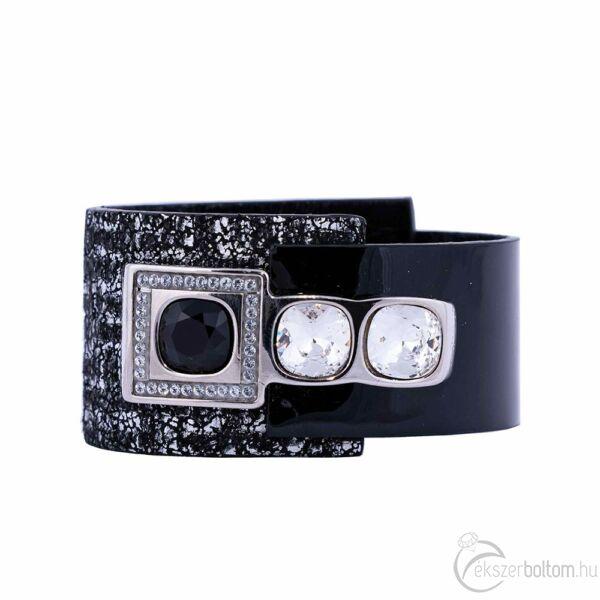 Cango & Rinaldi Cube ezüstszín fémdíszes, kristály és Jet Black köves, fekete-ezüst színű karkötő