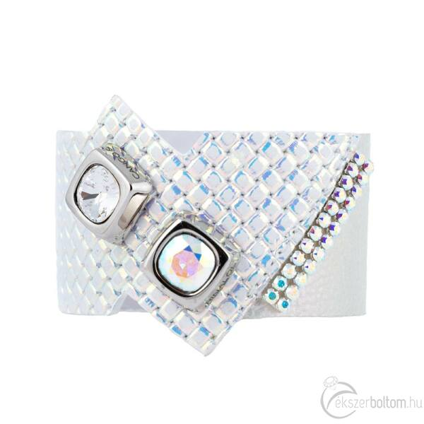 Cango & Rinaldi Cube ezüstszín fémdíszes, kristály és AB köves, irizáló színű karkötő