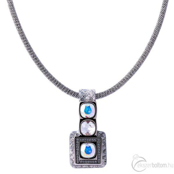 Cango & Rinaldi Cube ezüst bőrös, ezüstszín fémdíszes és láncos, kristály és AB köves nyaklánc