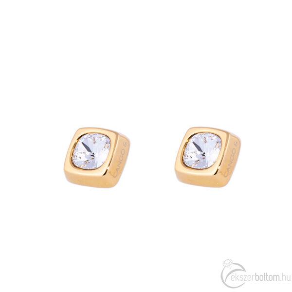 Cango & Rinaldi Cube arany színű fülbevaló kristály kővel