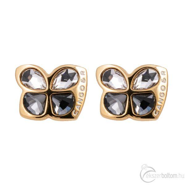 Cango & Rinaldi Secret Garden arany színű fülbevaló fehér és Black Diamond kristállyal