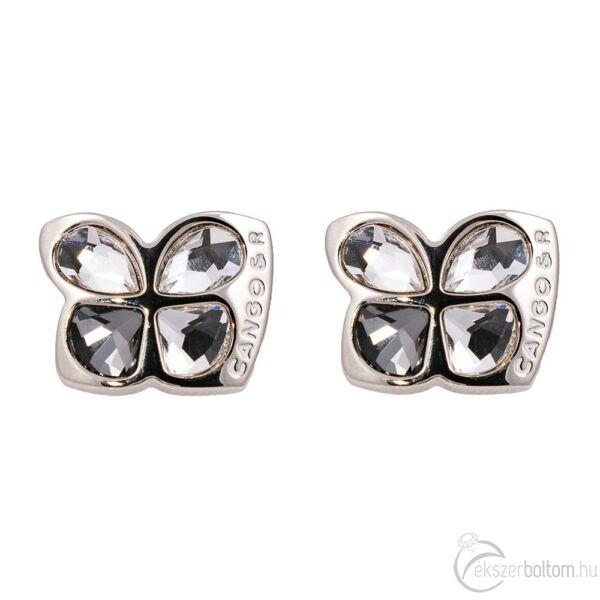 Cango & Rinaldi Secret Garden ezüst színű fülbevaló fehér és Black Diamond kristállyal