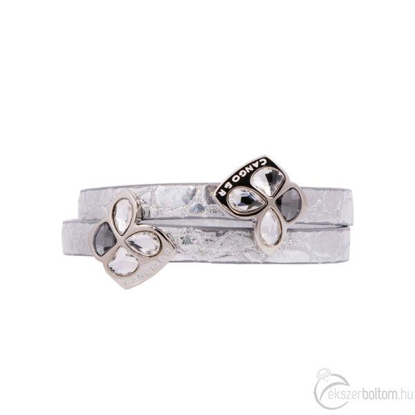 Cango & Rinaldi Secret Garden ezüst színű mintás bőr karkötő két kristály díszes rátéttel