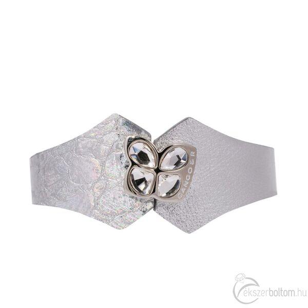 Cango & Rinaldi Secret Garden ezüst színű, kétféle mintás bőr karkötő kristály díszes rátéttel
